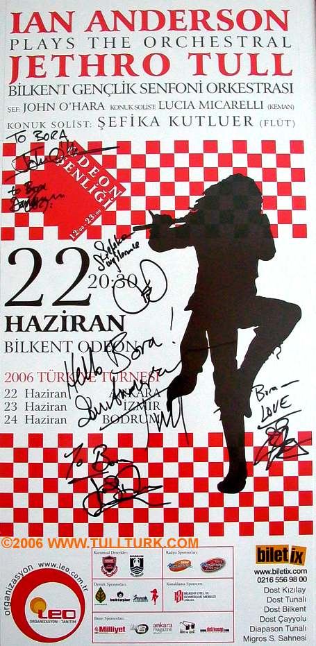 Sign's of IAN ANDERSON Orchestral Turkey Tour Band members in 2006