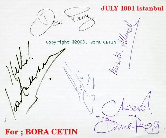 Sign's of TULL members in 1991