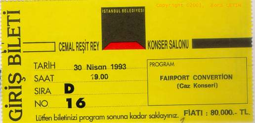 Fairport Convention Istanbul Ticket